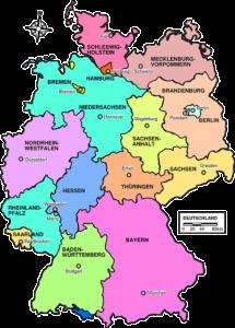 Mapa Niemiec z landami